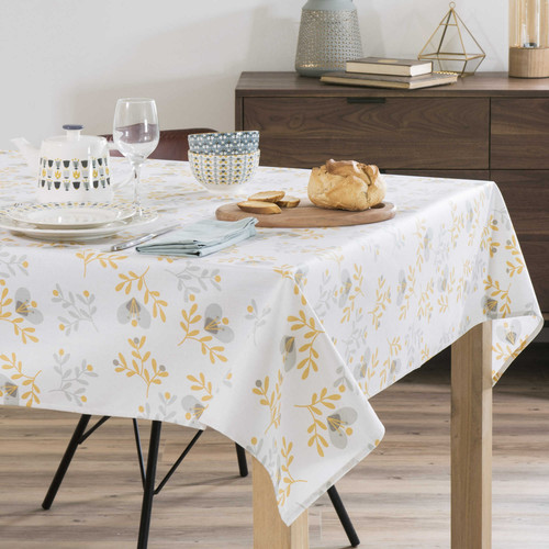 nappe enduite carr e grise jaune 150 x 150 cm milton maisons du monde. Black Bedroom Furniture Sets. Home Design Ideas