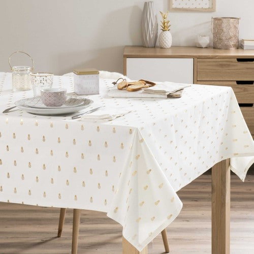 nappe motif ananas en coton 150 x 250 cm gold pineapple. Black Bedroom Furniture Sets. Home Design Ideas
