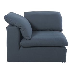 Navy Blue Washed Linen Modular Corner Sofa