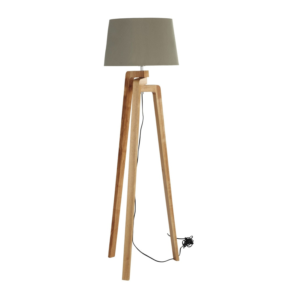 NORDIC tripod floor lamp wood and cotton H 150cm