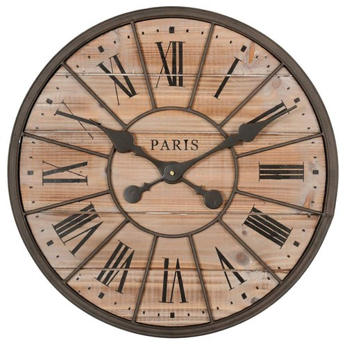 Northwood metal and wood clock d 50cm maisons du monde for Decoration murale industrielle