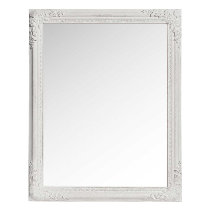 Distressed White Mirror With Mouldings 40 X 50 Cm Odelia