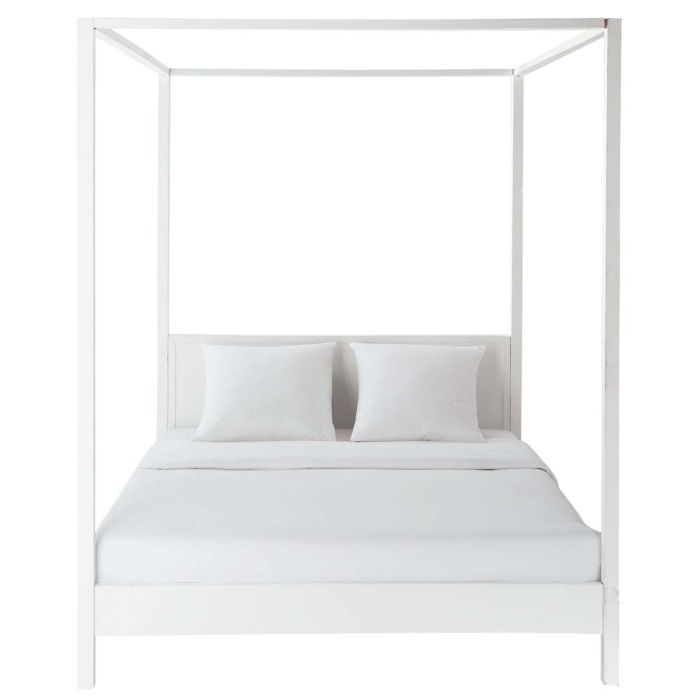 Letto 160 X 200.Off White Pine Four Poster Bed 160 X 200