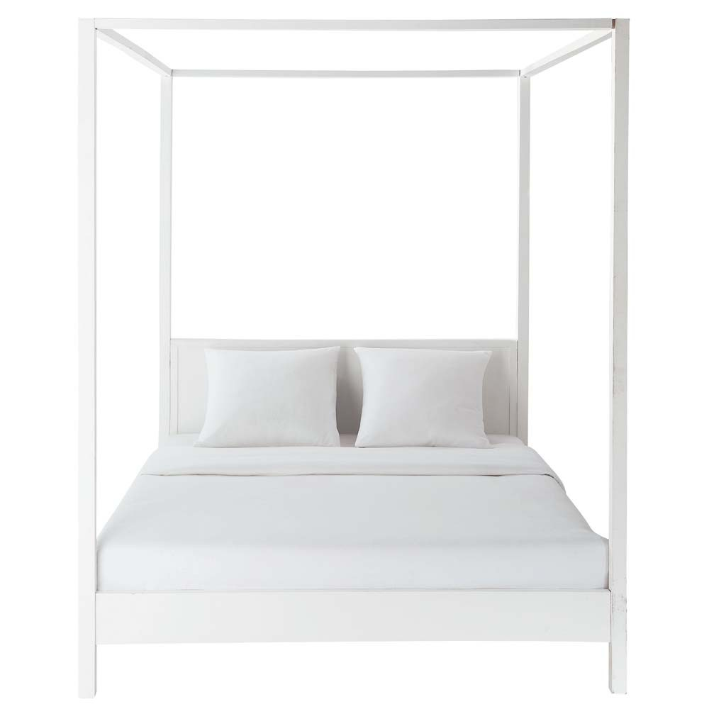 Offwhite wooden four poster bed 160 x 200 cm