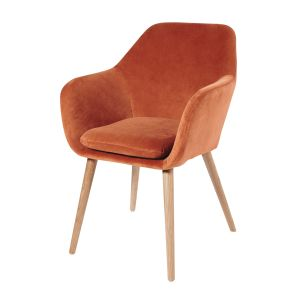 Orange Vintage Velvet Armchair ...