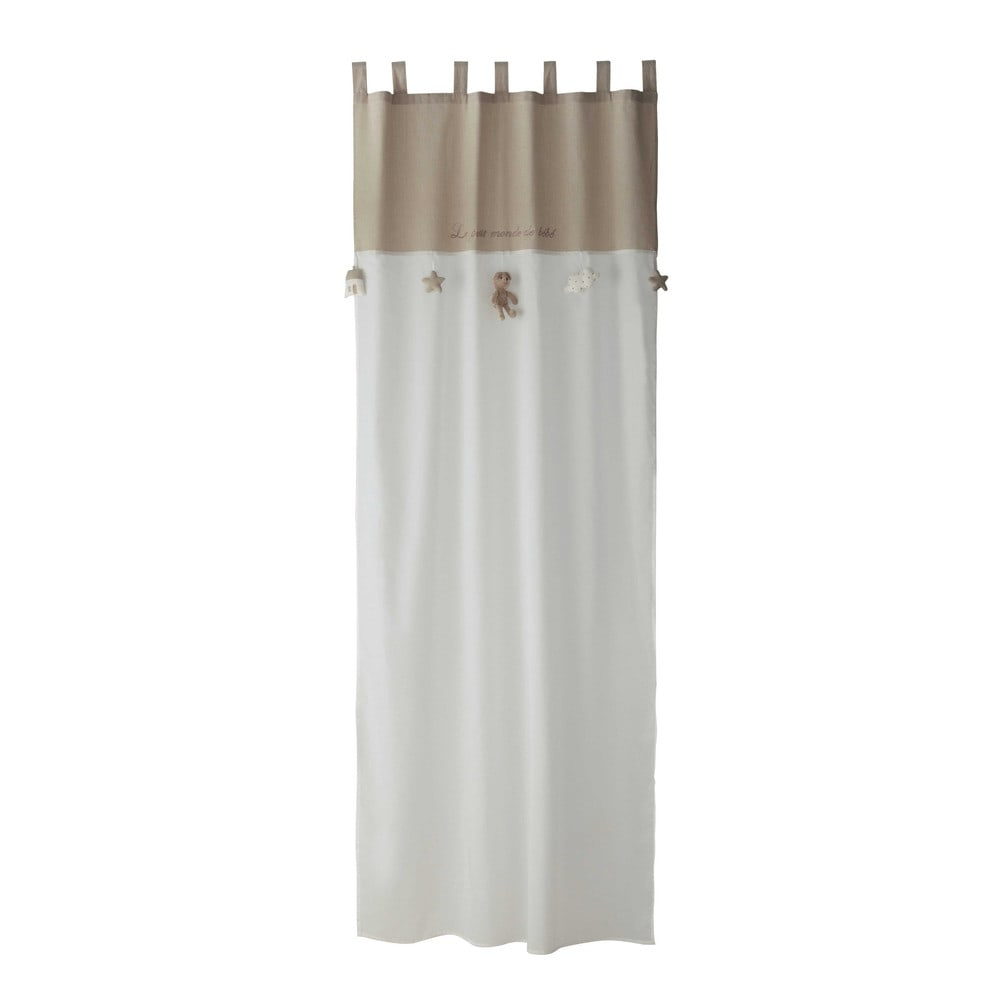 OURSON cotton tab top curtain in white  beige 110 x 250cm