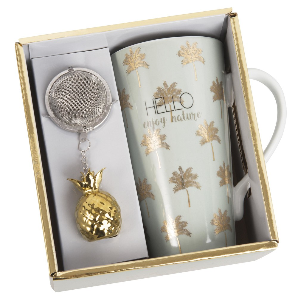 PALM TREE Porcelain Cup with Tea Infuser with Gold Motifs
