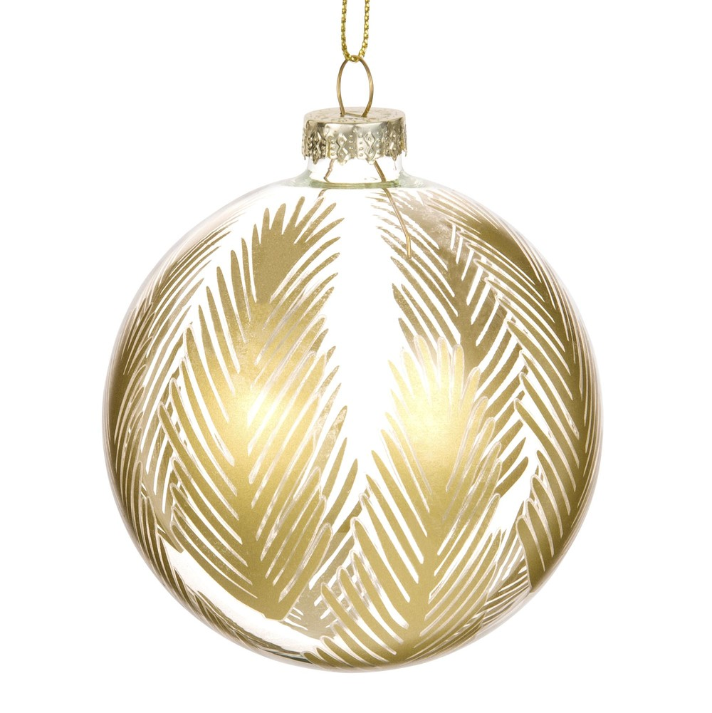 PALMS Clear Glass Bauble with Gold Leaf Motif