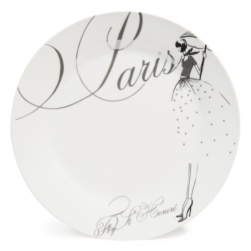 paris modeuse porcelain dinner plate in white d 27cm maisons du monde. Black Bedroom Furniture Sets. Home Design Ideas