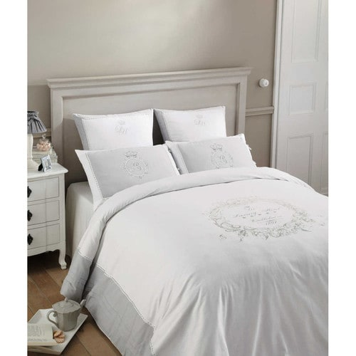 parure de lit 240 x 260 cm en coton blanche luxury maisons du monde. Black Bedroom Furniture Sets. Home Design Ideas