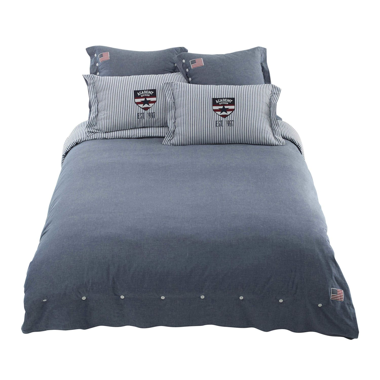 parure de lit chambray en coton bleu 220x240 maisons du monde. Black Bedroom Furniture Sets. Home Design Ideas