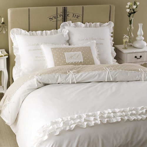 parure de lit en coton blanche 220 x 240 cm sans souci. Black Bedroom Furniture Sets. Home Design Ideas