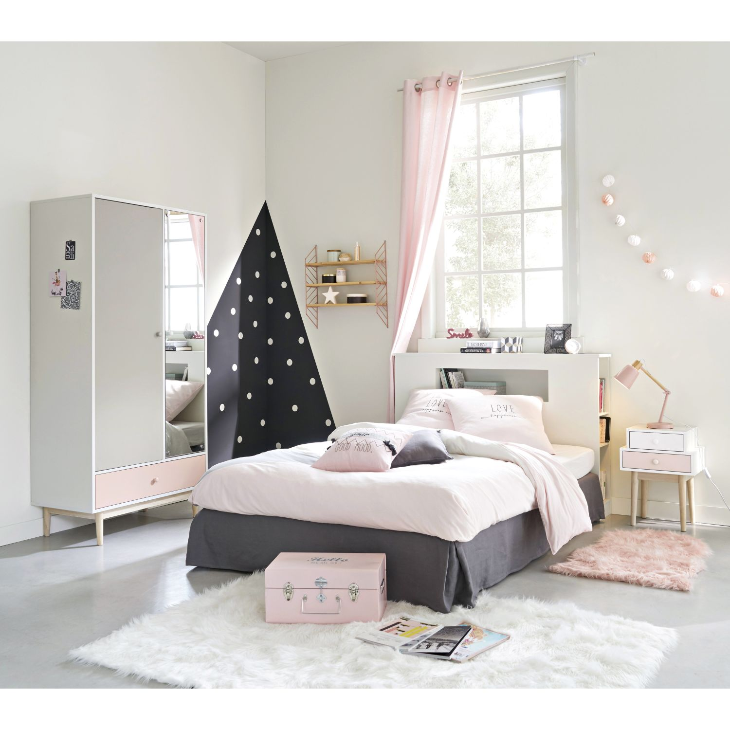 parure de lit en coton gris et rose 140x200 maisons du monde. Black Bedroom Furniture Sets. Home Design Ideas