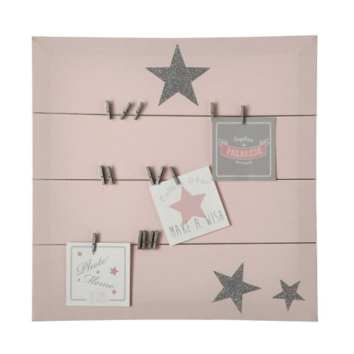 pastel canvas memo board in pink 45 x 45cm maisons du monde. Black Bedroom Furniture Sets. Home Design Ideas