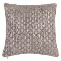 Patterned Taupe Cotton Cushion Cover 40x40