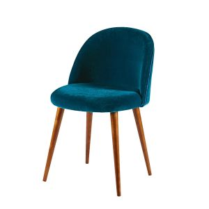 peacock blue velvet vintage chair with solid birch