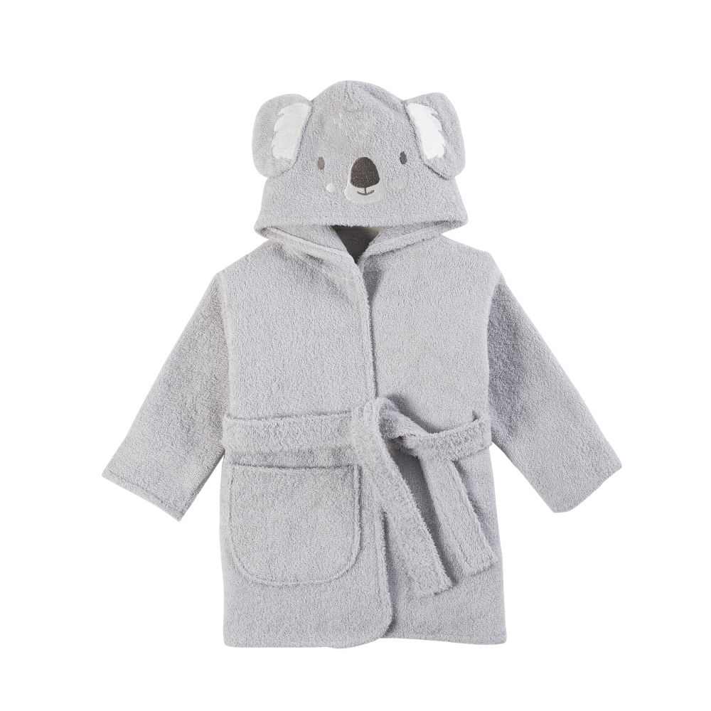 Peignoir bébé en coton gris brodé (photo)