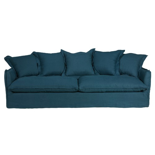 Petrol Blue 5-Seater Washed Linen Sofa