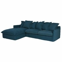 Petrol Blue 7 Seater Washed Linen Left Hand Corner Sofa Barcelone