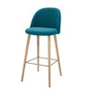 Petrol Blue Fabric Vintage Bar Chair - Mauricette