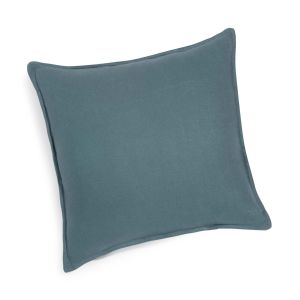 Petrol Blue Washed Linen Cushion in 45x45