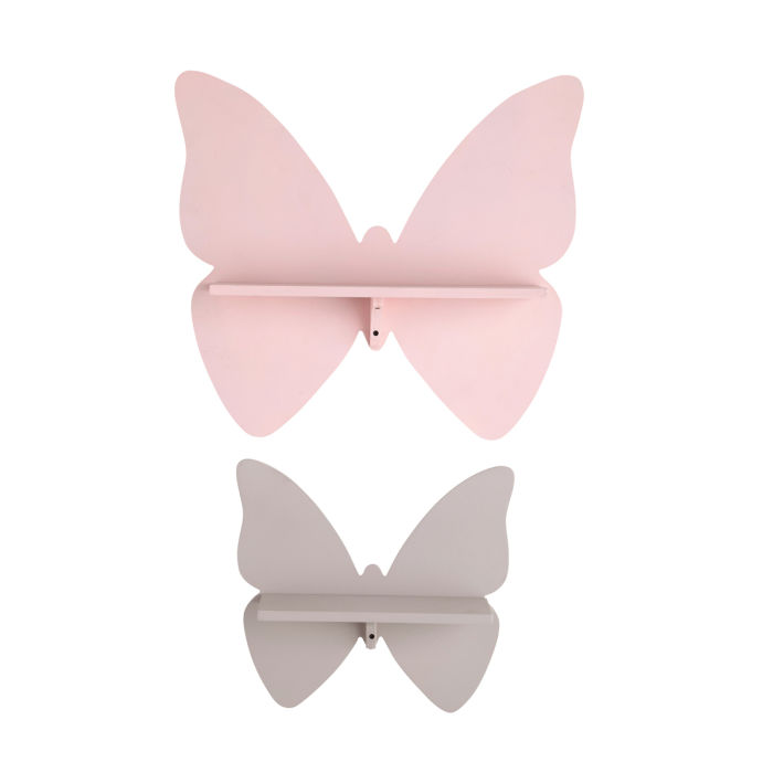 Mensole Maison Du Monde.Pink And Taupe Butterfly Wall Shelves X2