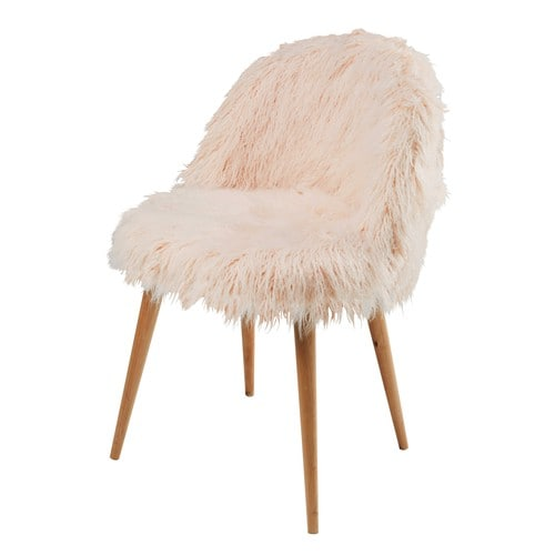 Pink Faux Fur and Birch Vintage Chair