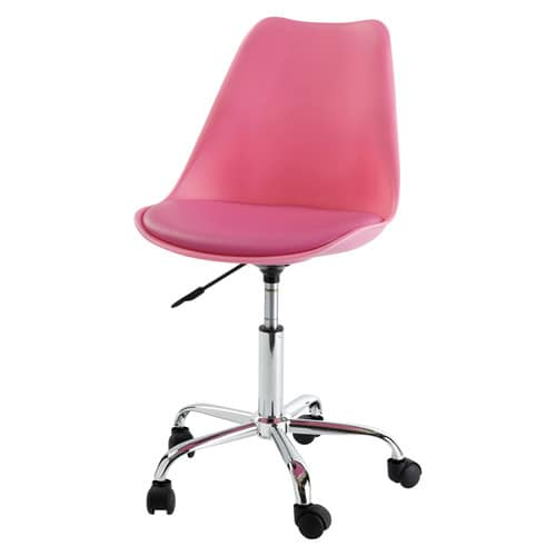 Pink Office Chair on Casters