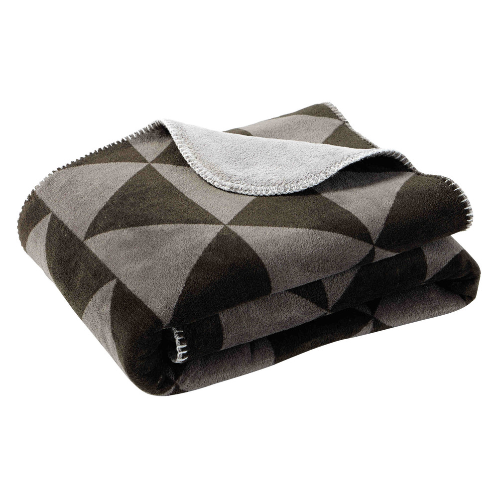 Plaid motif triangles gris/noir 130 x 170 cm CITYLIVE (photo)