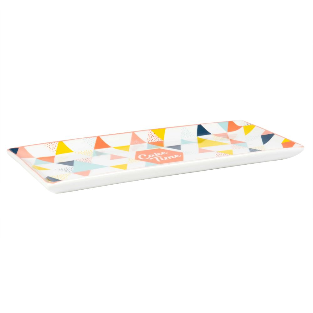 Plat à cake en porcelaine motifs triangles multicolores