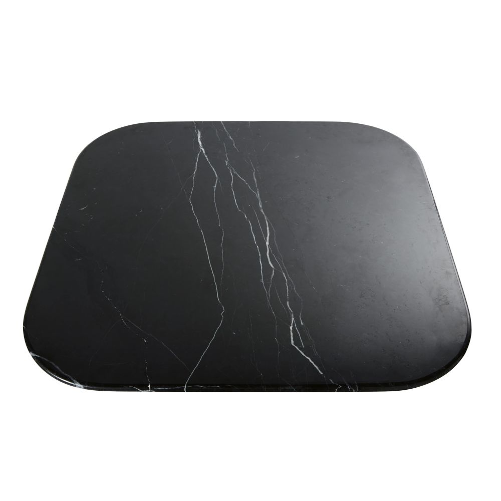 Plateau de table en pierre effet marbre noir 4 personnes L90 Blackly (photo)