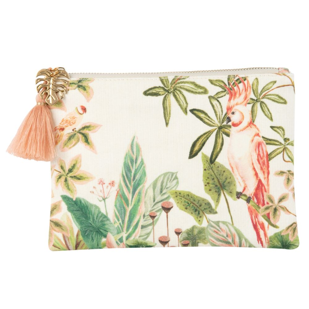 Pochette imprimé tropical rose et vert (photo)