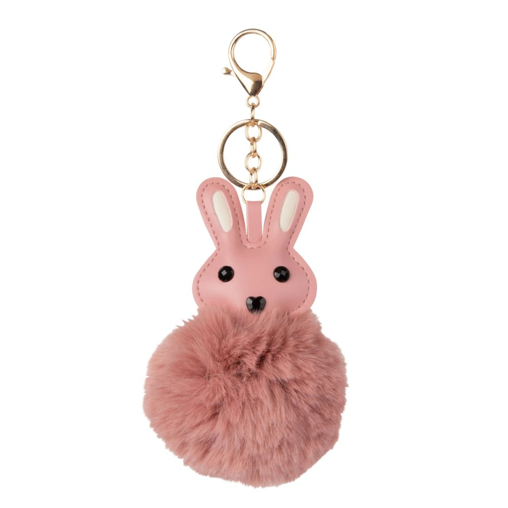 Porte-clés lapin pompon rose (photo)