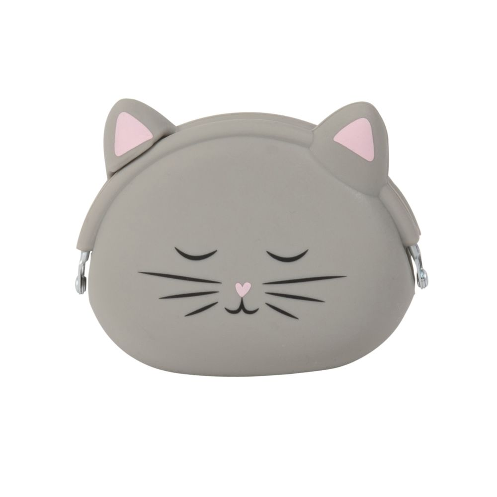 Porte-monnaie chat en silicone gris (photo)