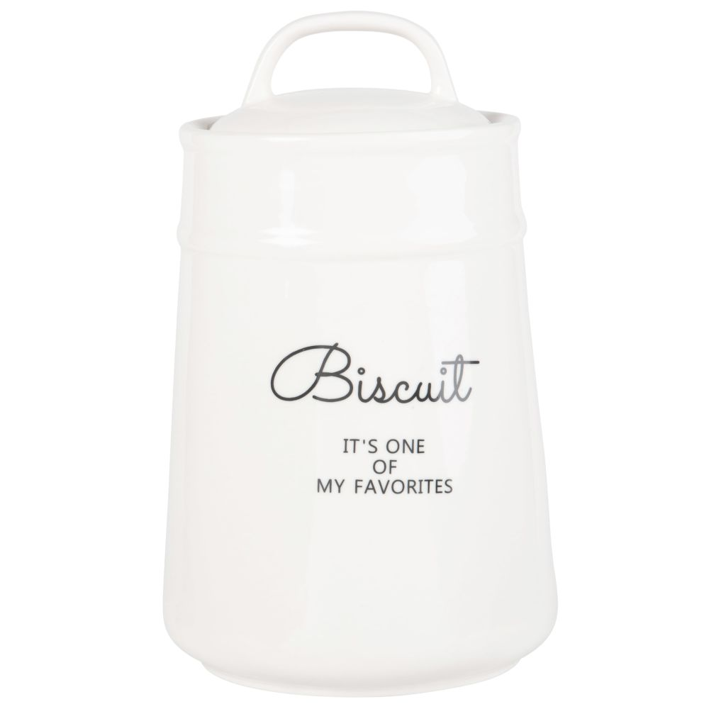 Pot à biscuits en céramique blanche imprimé noir (photo)