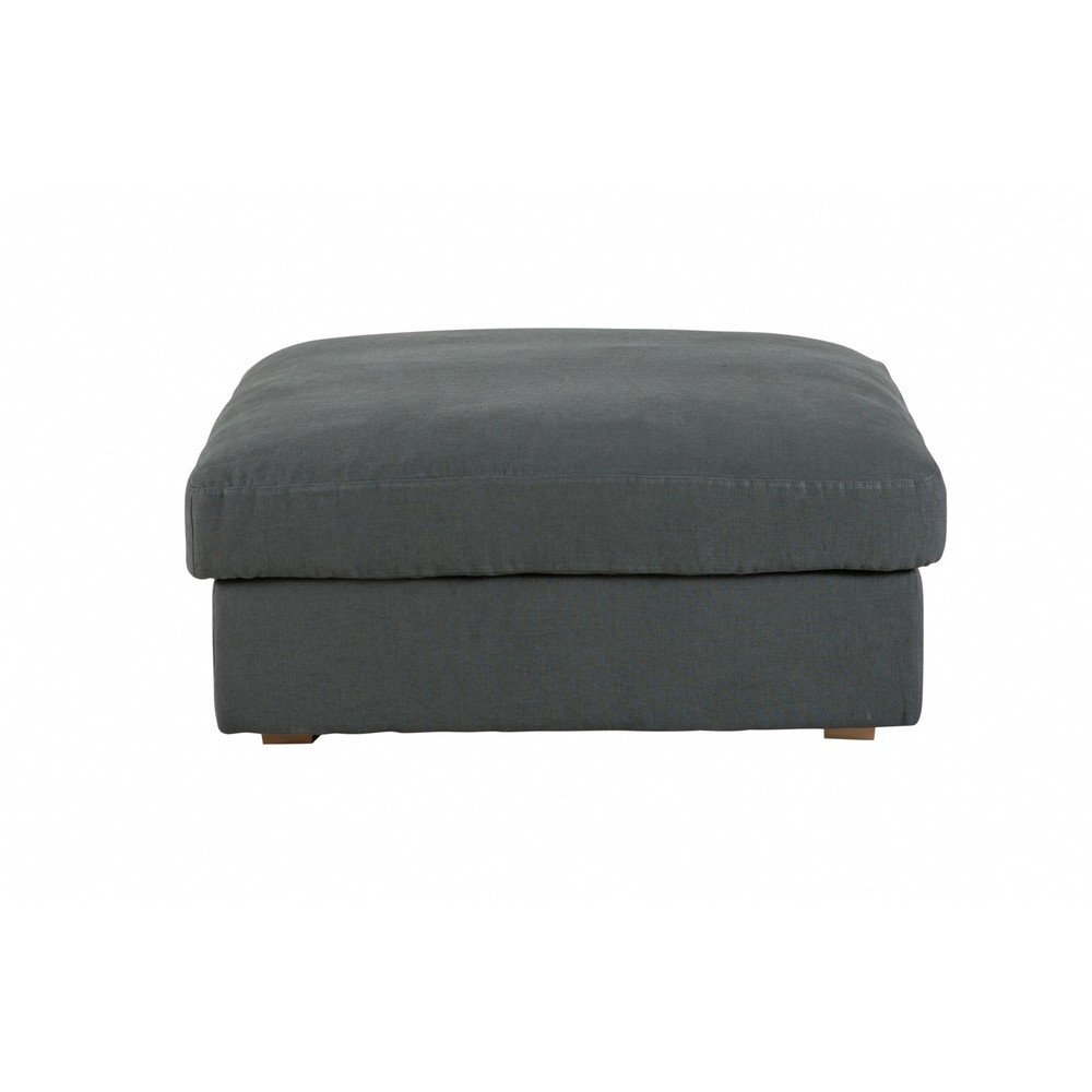 pouf en lin lav gris anthracite cesar photo. Black Bedroom Furniture Sets. Home Design Ideas