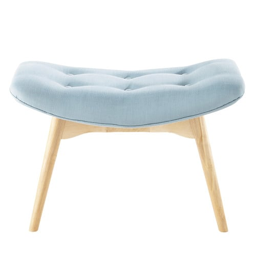 pouf repose pieds scandinave en tissu bleu iceberg. Black Bedroom Furniture Sets. Home Design Ideas
