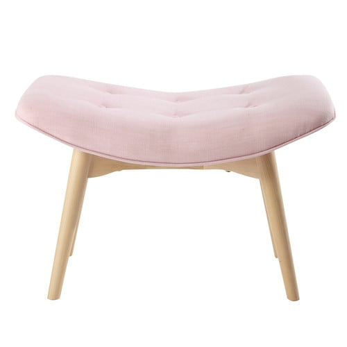 pouf repose pieds vintage en tissu rose iceberg maisons du monde. Black Bedroom Furniture Sets. Home Design Ideas