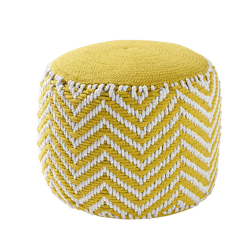 pouf rond tress en coton jaune alix maisons du monde. Black Bedroom Furniture Sets. Home Design Ideas