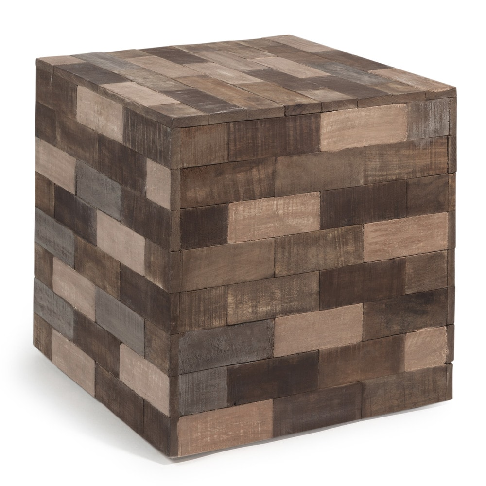 PRAJA wooden cube side table multicoloured W 41cm