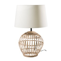 Rattan Lamp with Beige Shade West Indies