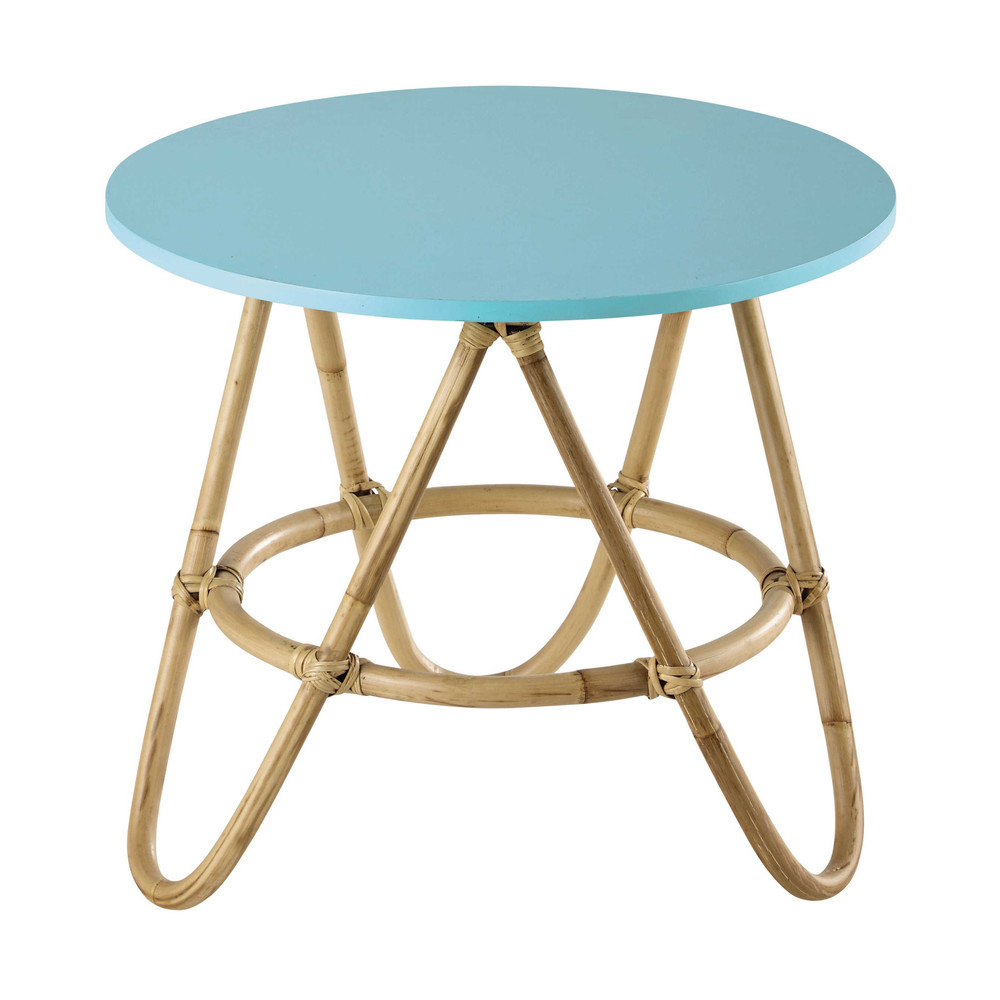 Rattan round coffee table in blue D 46cm