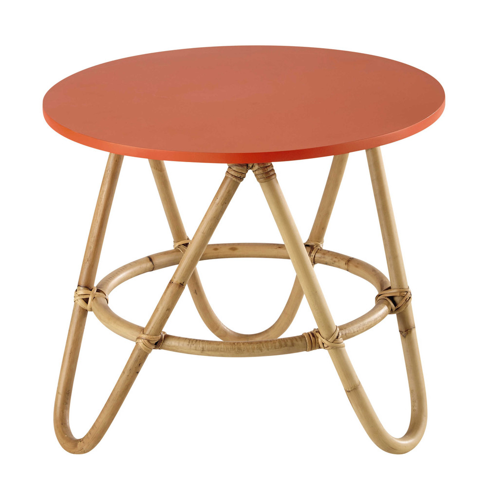 Rattan round coffee table in coral D 46cm