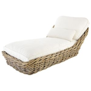 Garden Chaise Longue In Rattan With Taupe Cushions; Rattan Sun Lounger With  Ivory Cushions