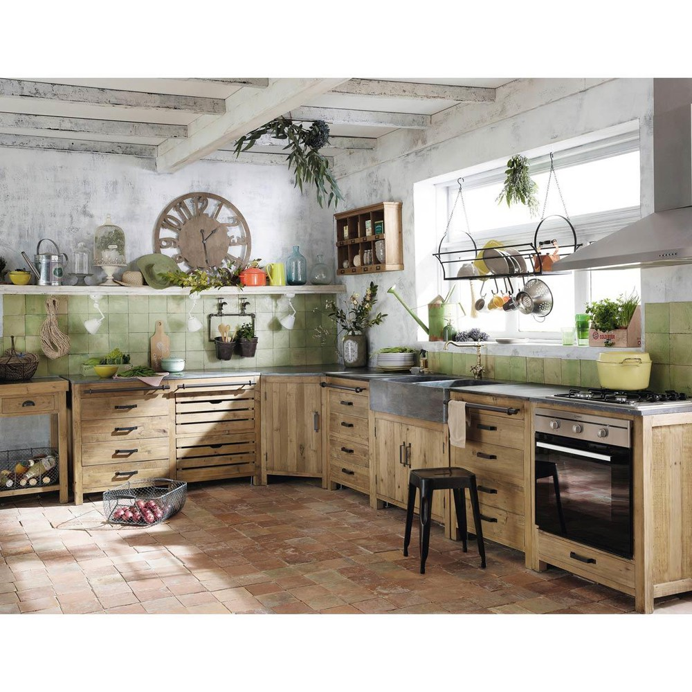 Recycled Pine Kitchen Sink Unit W 90 | Maisons du Monde