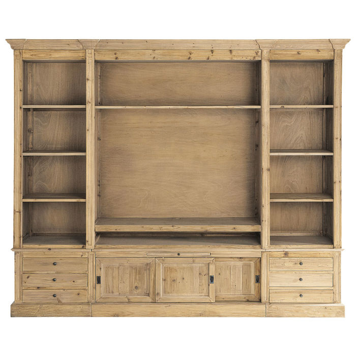 Recycled Solid Pine Tv Unit Bookcase Passy Maisons Du Monde