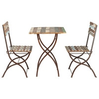 Recycled wood and metal garden table + 2 chairs in distressed finish W 60cm