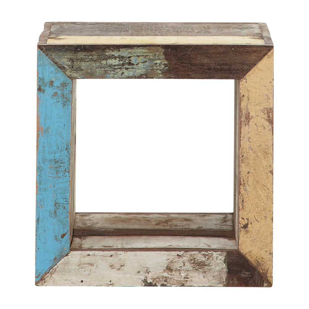 Recycled wood cube side table multicoloured W 40cm