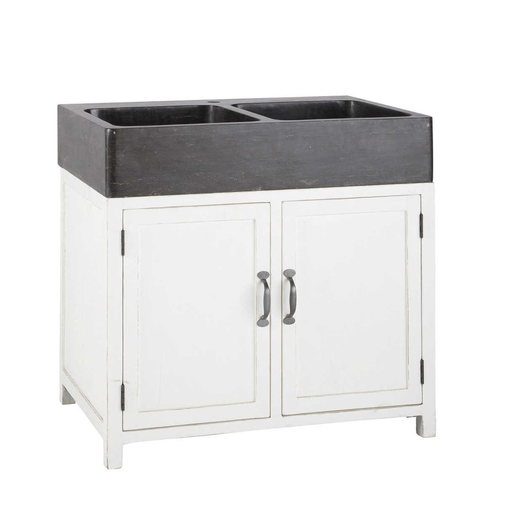 Recycled wood kitchen sink unit in white W 90cm