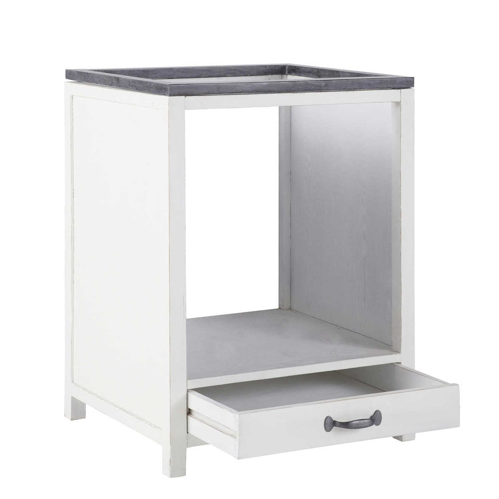 Recycled wood under oven kitchen base unit in white W 64cm